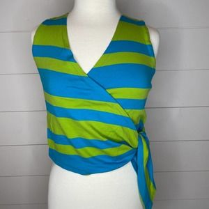I.B. Diffusion Blue & Green Wrap Cropped Blouse